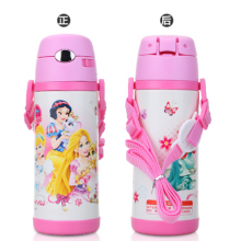 Lovely Pink Princess Stainless Steel Water Bottle Thermos Cup Vacuum Flask for kids - 400ml with Name Card On the Strap