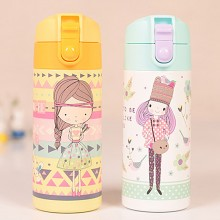 Pinkah Cute Girl light weight Stainless Steel Water Bottle Thermos Cup Vacuum Flask - 350 ml