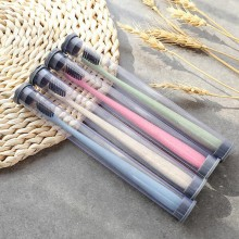 1Pcs Portable Travel Toothbrush Soft Bamboo Charcoal Wheat Stalk Handle Oral Care Nano-antibacterial Toothbrush Mini Heads