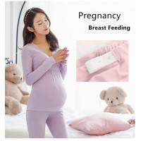 Maternity Nursing Pajamas Set Breastfeeding Clothes Pregnancy Sleepwear
