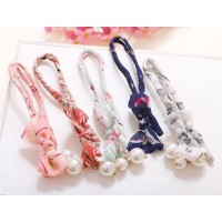 Fashion Women Flower Fabric Ribbon Metal Wire Headband with Faux Hairband