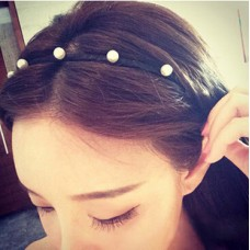 Black Fabric Hairband with Pearl
