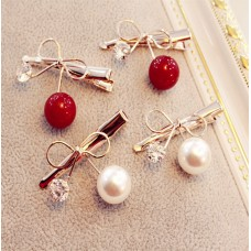 Gold Metal Bow Hair Clips with Rhinestone and Pearl