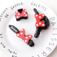 Plastic Red Mickey Bow Hair Clips Set - 3 pc