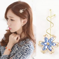 Gold Metal Flower with Crystal Hair Pin