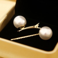 White Pearl Gold Hair Clips Set - 2pcs
