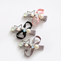 Fabric Bow with a Metal Star Hair Clips