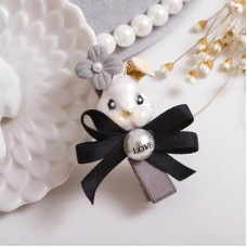 Adorable Metal Rabbit with Black Ribbon Bow Hair Clips