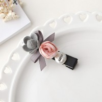 Floral Gray Ribbon Bow Hair Clips