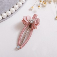 Flower with Rhinestone Hair Snap Clips