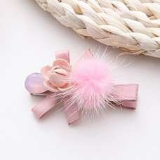 Sweet Pink / Gray Flower Hair Clips