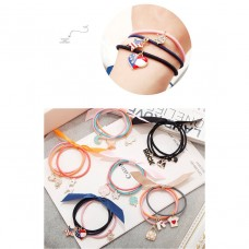Colorful Fabric Ribbon Hair Ties Band Elastic Ponytail Hair Rope with Cartoon