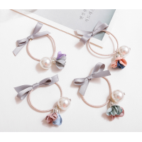 Eye-catching Pearl and Ribbon Bow Floral Hair Tie