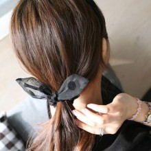 Sexy  Black Lace Rabbit Ears Bow Hair Tie